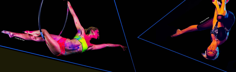 Aerial hoop performer on an aerial hoop