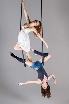 Double trapeze. Copyright Andy Wilson, Claire Cantrell and Lydia Moon