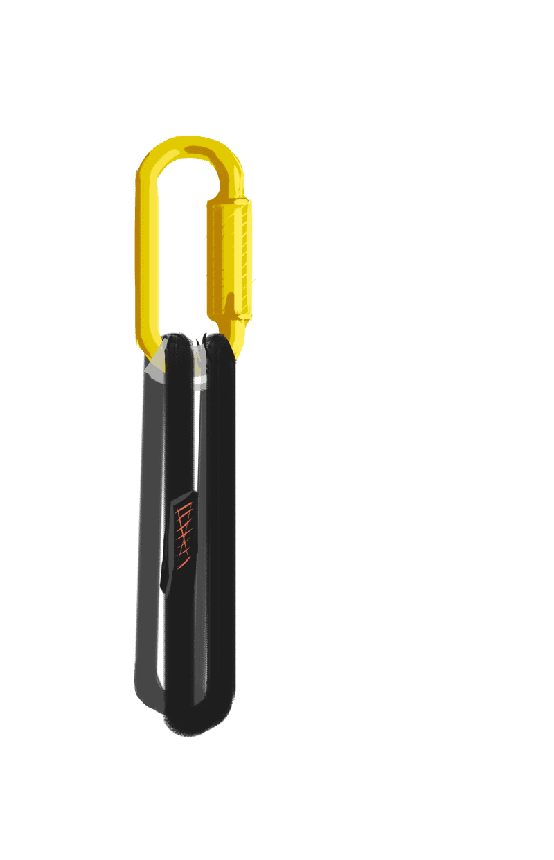 Carabiner with nylon sling and sacrificial layer